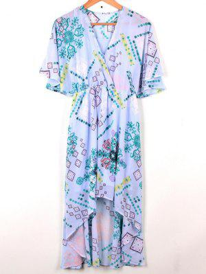 Cross-Over Chiffon Dress - Light Blue L