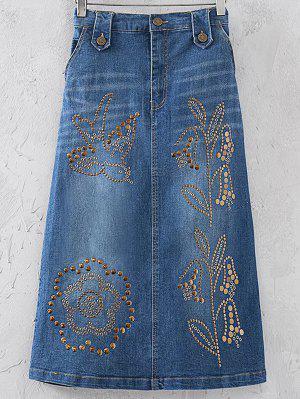 Embellished A-Line Denim Skirt - Blue S