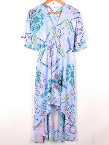 Cross-Over Chiffon Dress - Light Blue L