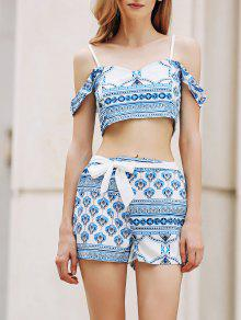 Printed Spaghetti Straps Crop Top And Shorts Twinset - Blue And White Xl