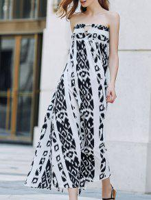 فستان ماكسي طباعة بوهيمي بلا حمالات - أبيض وأسود Xl