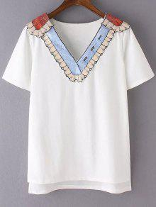 Sequined Neckline T-Shirt - White L