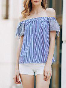 Loose Striped Short Sleeve Off The Shoulder T-Shirt - Blue Xl