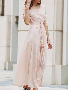 Pink Print V Neck Half Sleeve Maxi Dress - PINK M