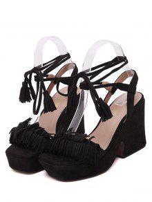 Fringe Platform Chunky Heel Sandals BLACK: Sandals 36 | ZAFUL