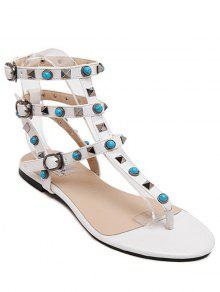 Buy Faux Turquoise Rivet Flat Heel Sandals - WHITE 35