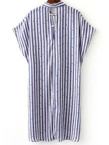 3da990048f2 29% OFF  2019 Button Down Striped Shirt Dress In BLUE