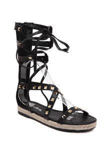 Buy Flat Heel High Top Rivet Sandals - BLACK 39