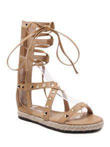 Buy Flat Heel High Top Rivet Sandals - APRICOT 37
