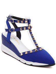 Buy Rivet Pointed Toe T-Strap Sandals - BLUE 38