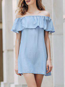 Short Sleeve Off The Shoulder Solid Color Dress - Light Blue M