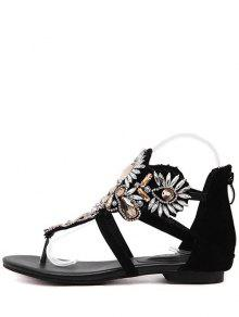 1765f4fdc 31% OFF  2019 Artificial Jewel Black Flat Heel Sandals In BLACK