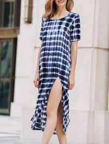 Tie-Dyed Round Collar Short Sleeve High Slit Dress - Xl