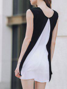 Cap Sleeve Hit Color Chiffon Dress - White And Black M