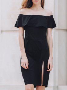 BODYCON Por El Lateral Del Hombro Vestido De Corte Largo Negro - Negro Xl