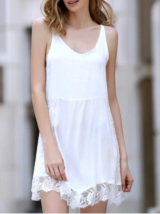 Encaje empalmado Hundiendo cuello irregular del vestido dobladillo - Blanco XL