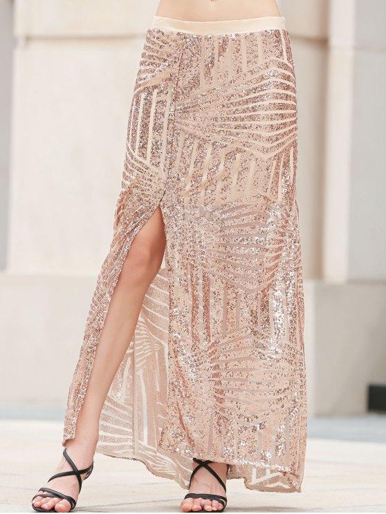 unique Sequins High Slit Long Skirt - PLATINUM XL