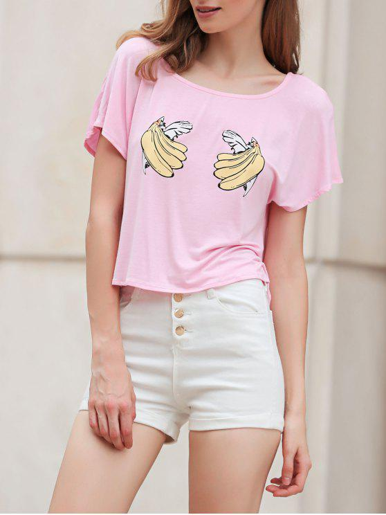 shop Banana Print Short Sleeve Cropped T-Shirt - PINK XL