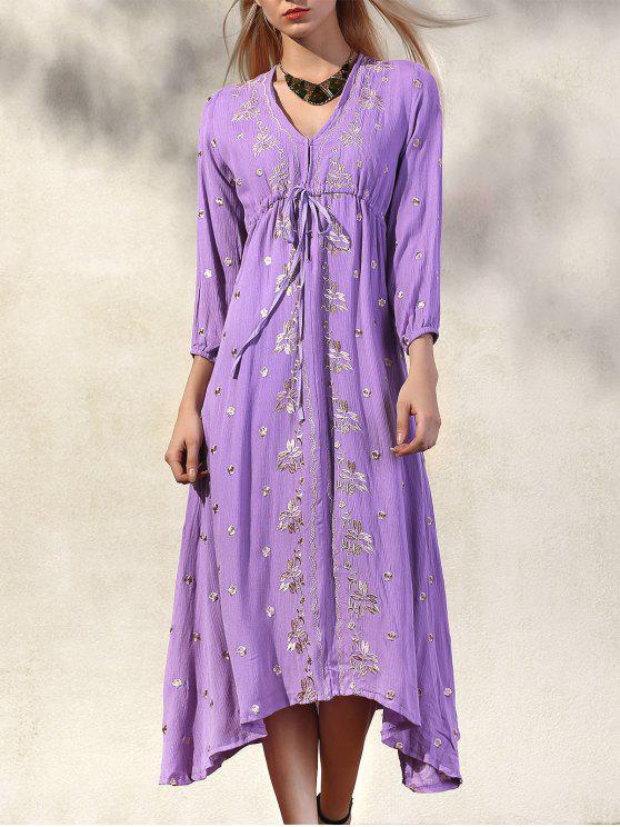 chic High Waisted V-Neck 3/4 Sleeve Embroidery Dress - PURPLE S