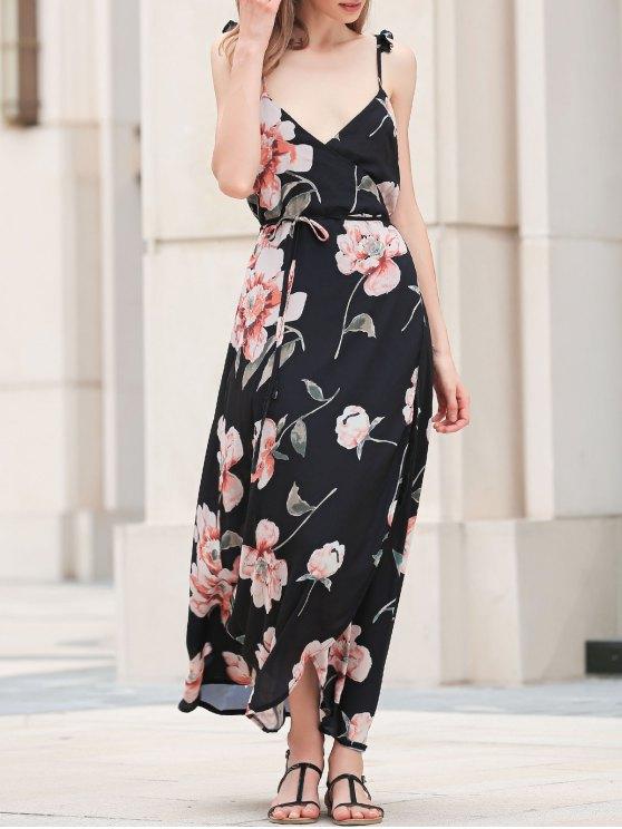 فستان طويل بالأشرطة الرقيقة و الطبع - أسود S