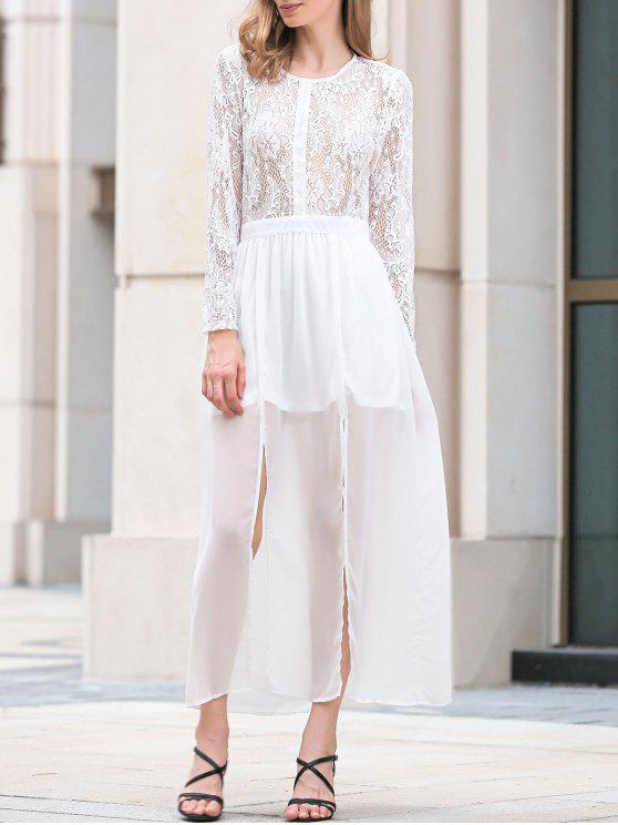 فستان عالية الانقسام دائرة الرقبة الدانتيل كهنوتي ماكسي - أبيض L