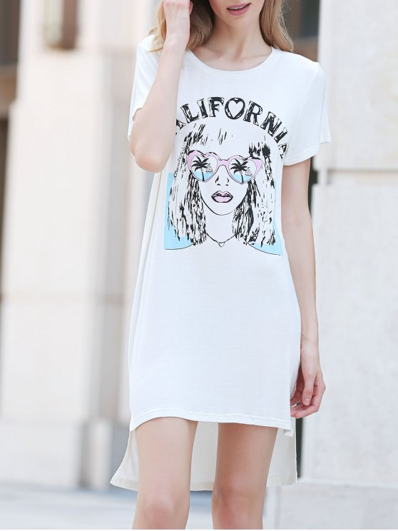 shops Printed Casual Round Collar Short Sleeve Dress - WHITE L
