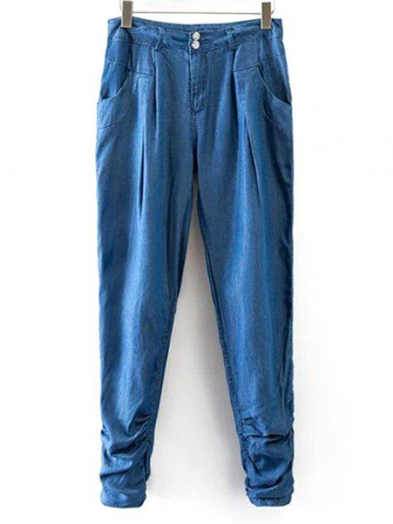 fashion Chambray Casual Pockets Harem Pants - ICE BLUE S