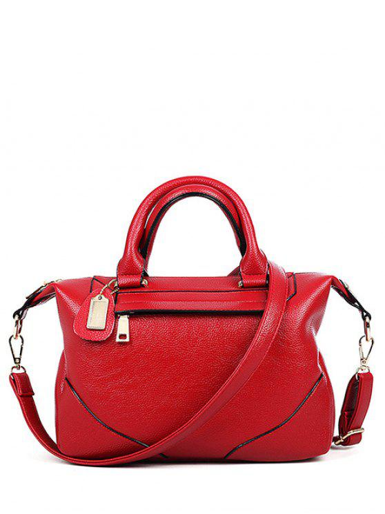 outfits PU Leather Solid Colour Tote Bag - RED