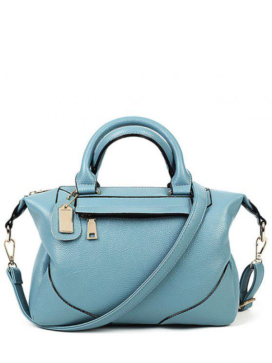 shops PU Leather Solid Colour Tote Bag - BLUE