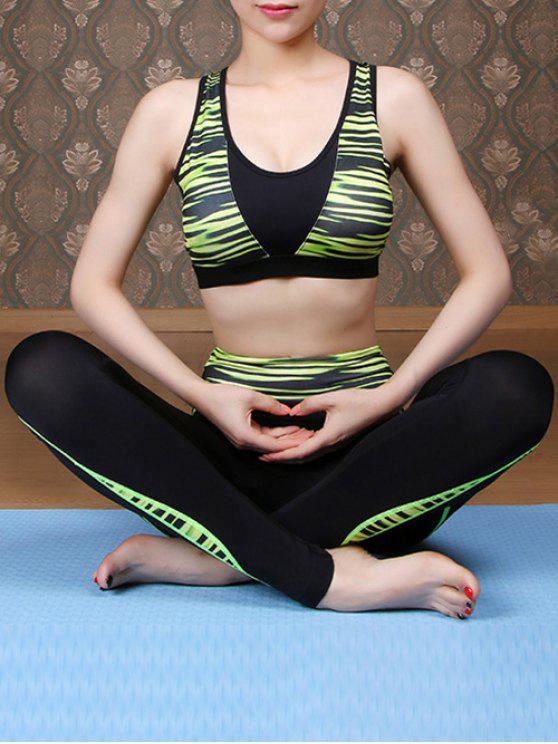 Impreso sujetador de los deportes y Pantalón ajustado traje Yoga - GREEN L