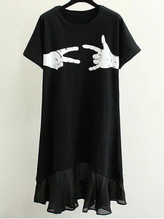 Handssors طباعة جولة الرقبة فستان قصير الأكمام - أسود M