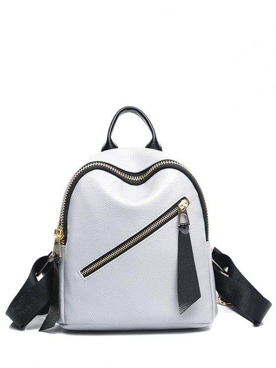 sale PU Leather Zipper Solid Color Satchel - LIGHT GRAY