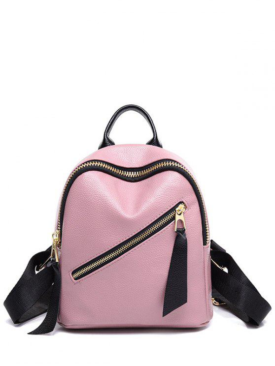buy PU Leather Zipper Solid Color Satchel - PINK