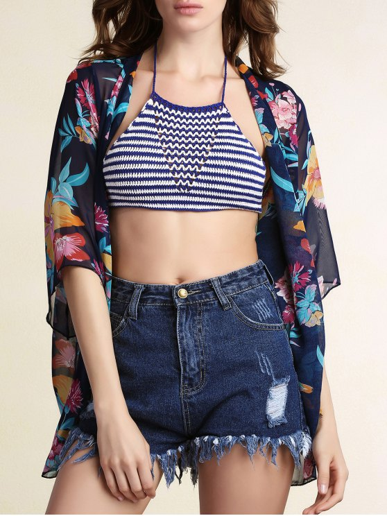 ladies Floral Print Collarless Bat-Wing Sleeve Chiffon Cover Up - BLUE L