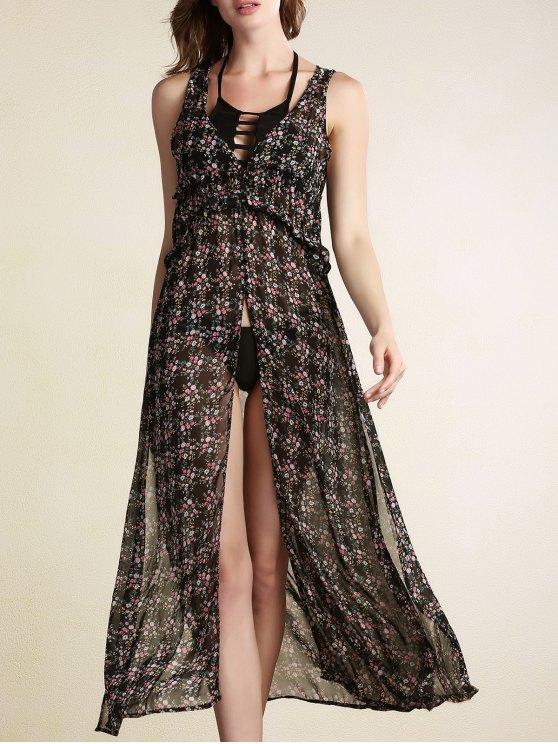 Cou V-robe en mousseline de soie sans manches Fleur minuscule Imprimer - Noir L
