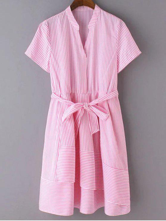 online Striped Stand Neck Short Sleeve Belted Dress - RED XL