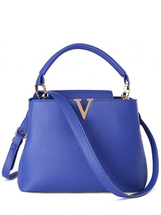 lady Letter V Solid Color Tote Bag - BLUE