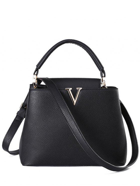 ladies Letter V Solid Color Tote Bag - BLACK