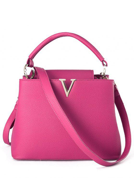 women's Letter V Solid Color Tote Bag - ROSE