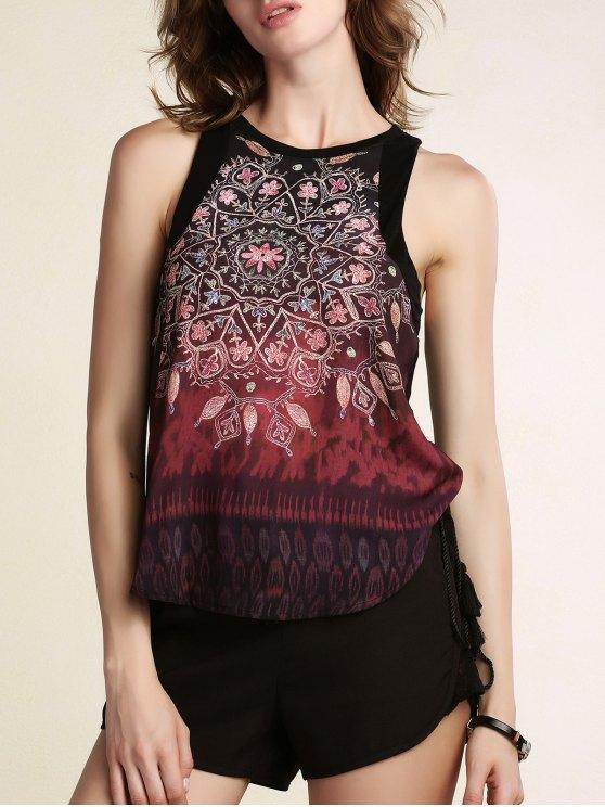 women's Printed Round Collar Chiffon Tank Top - BLACK L