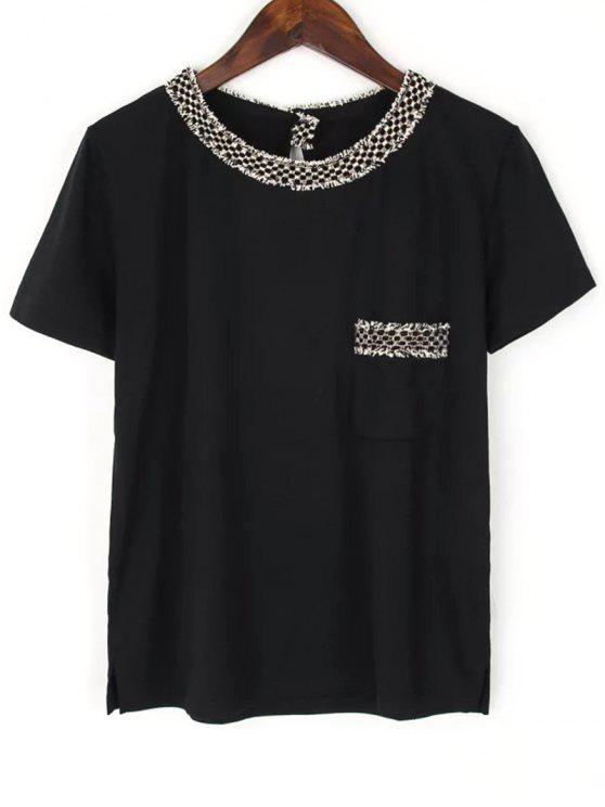 Manga del bolsillo de cuello redondo manga corta de la camiseta - Negro S