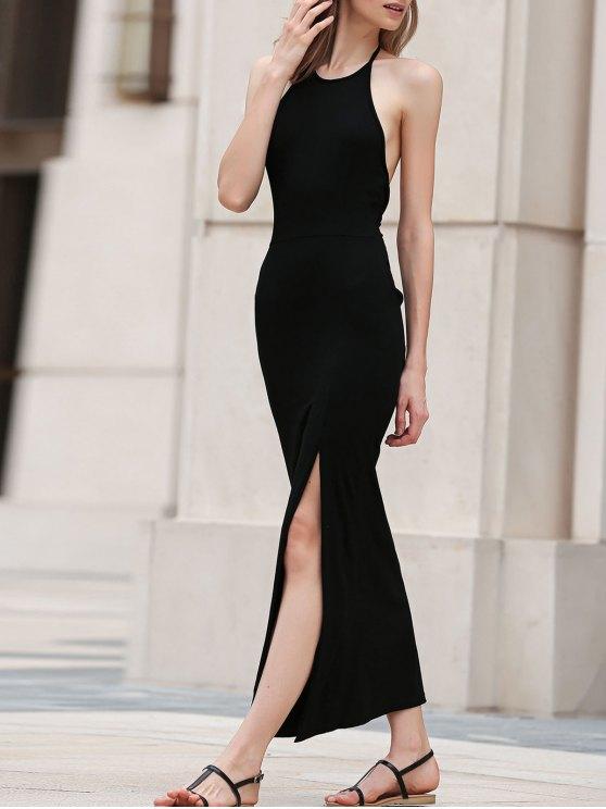 Negro hendidura lateral Maxi vestido halter - Negro XL