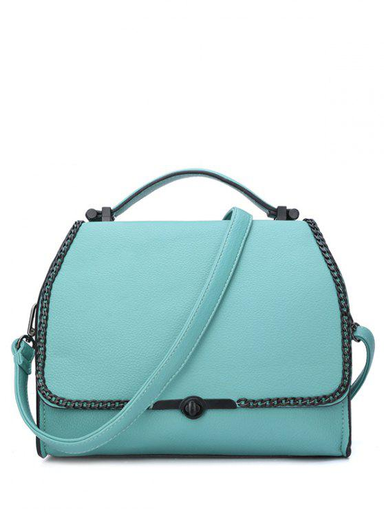 chic Chains Hasp Solid Color Tote Bag - GREEN