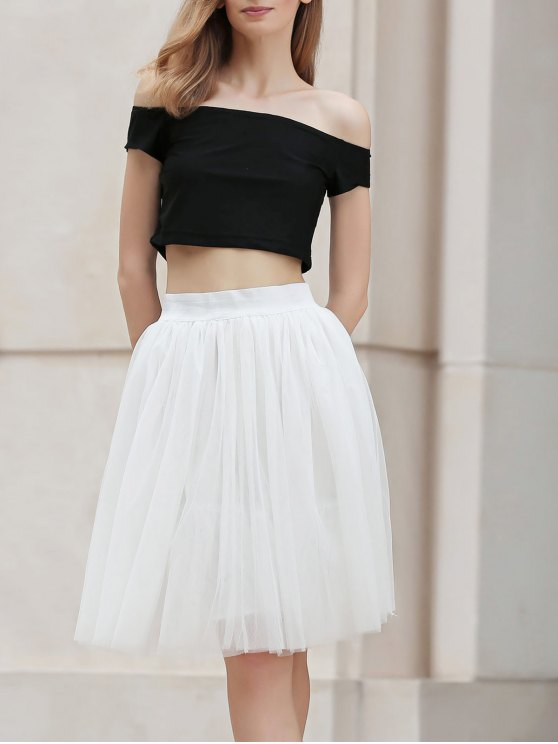 ladies Mesh Solid Color A Line Midi Skirt - WHITE M