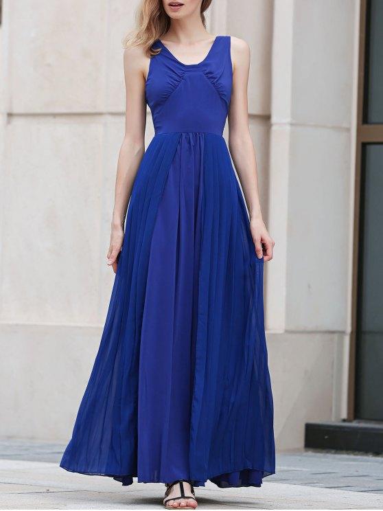 Azul plisado cuello en V vestido maxi sin mangas - Azul M