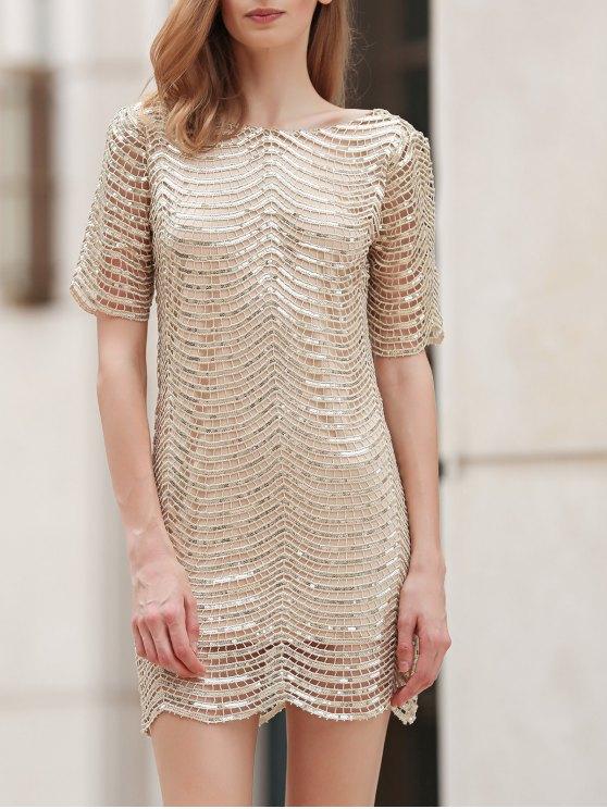 womens Sequins Scoop Neck Half Sleeve Dress - GOLDEN L