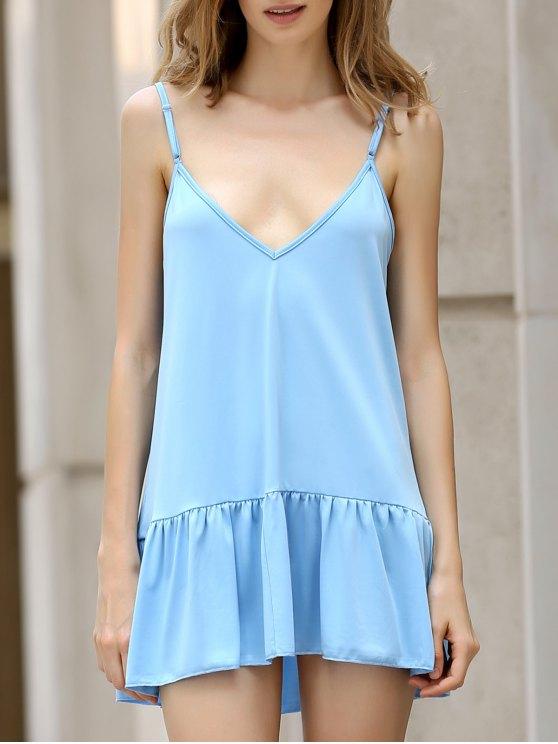 women Light Blue Cami Backless Dress - LIGHT BLUE M