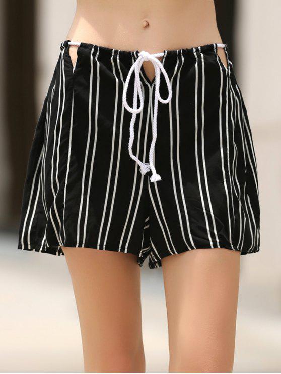Rayas sueltos Recortable pantalones cortos de cintura alta - Negro M