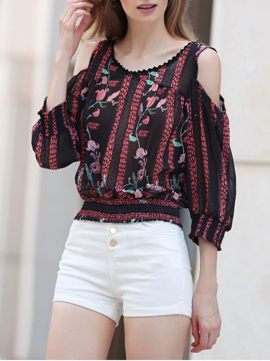 shop Cut-Out Floral Print Round Neck Long Sleeve Blouse - CADETBLUE L