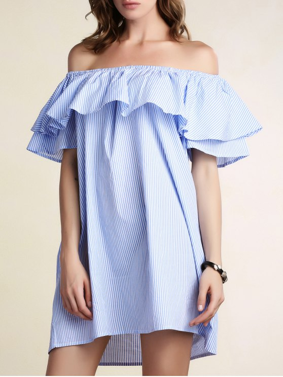 outfit Striped Off Shoulder Flouncing Loose Dress - LIGHT BLUE L